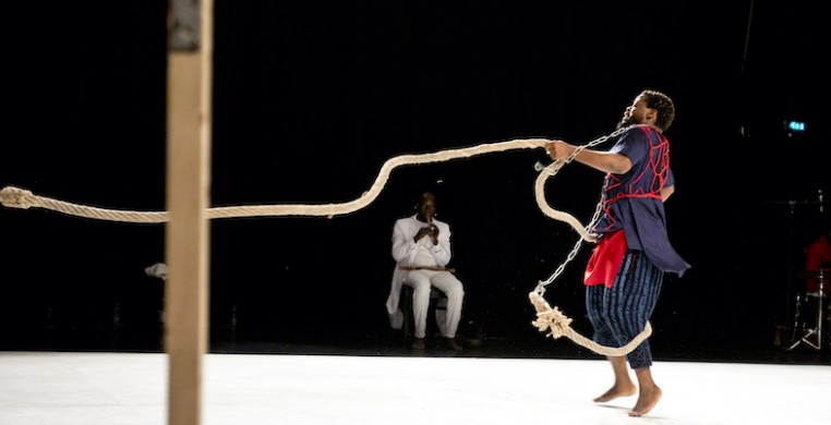 "Qudus Onikeku performing in ""Spirit Child."" Photo by Marie Koehler"