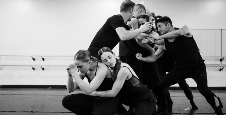Giordano Dance Chicago in rehearsal with Peter Chu, who is collaborating with Ray Leeper and Bongi Duma on a full-length evening about the history of jazz dance. Photo by Anderson Photography.