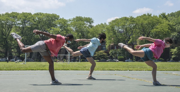 """Dancers Sam Crouch, Timothy Tsang and Katy Fedrigon in Ashley Deran and Emily Loar's piece """"This Dance is for the Parks."""" Their film is part of a digital 2020 season for Dance in the Parks"""