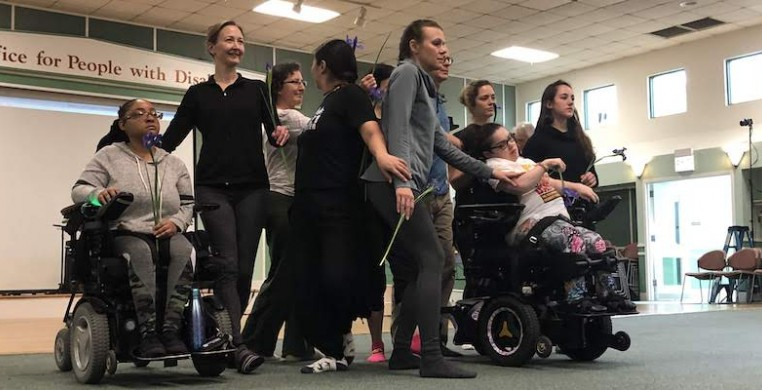Participants of the Chicago Inclusive Dance Festival in a movement workshop. This year, the festival will take place entirely over Zoom. (photo courtesy Maggie Bridger)