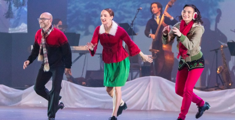 """From left, Mark Yonally, Kirsten Uttich, Kurt Schweitz and Jennifer Yonally in Chicago Tap Theatre's """"Tidings of Tap."""" Photo by David Harmantas"""