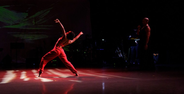 """CRDT Dancer Simone Stevens (foreground) and vocalist Margaret Murphy-Webb performing """"Culture Loop,"""" by choreographer Monique Haley. Photo credit: Fernando Rodriguez Photography."""
