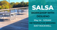 Outdoor Patio next to the riverside. Location of Salsa class