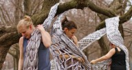 Dancers interact with tree-hung textiles in Weave Trees by Synapse Arts