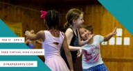 """Three children dancing and laughing in a room with wooden walls, with overlaid text that reads: """"Feb 13-Apr 3, Free virtual kids classes, synapsearts.com"""""""