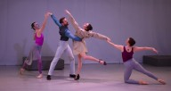 """From left, Ballet 5:8 dancers Libby Dennen, Samuel Opsal, Lezlie Gray and Lorianne Robertson in """"Reckless"""" (photo courtesy Ballet 5:8)"""