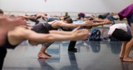 Students in a modern technique class at the Hubbard Street Dance Center. Photo by Todd Rosenberg.